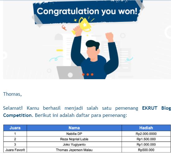 Pemenang Lomba Blog Ekrut